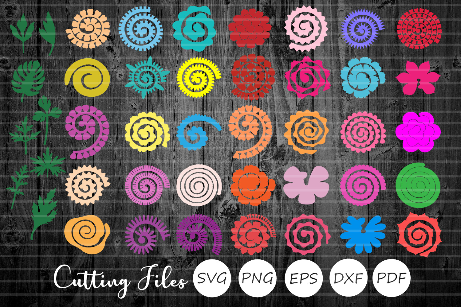 Rolled Paper Flowers Bundle   Svg Cut Files   Origami   example image 1