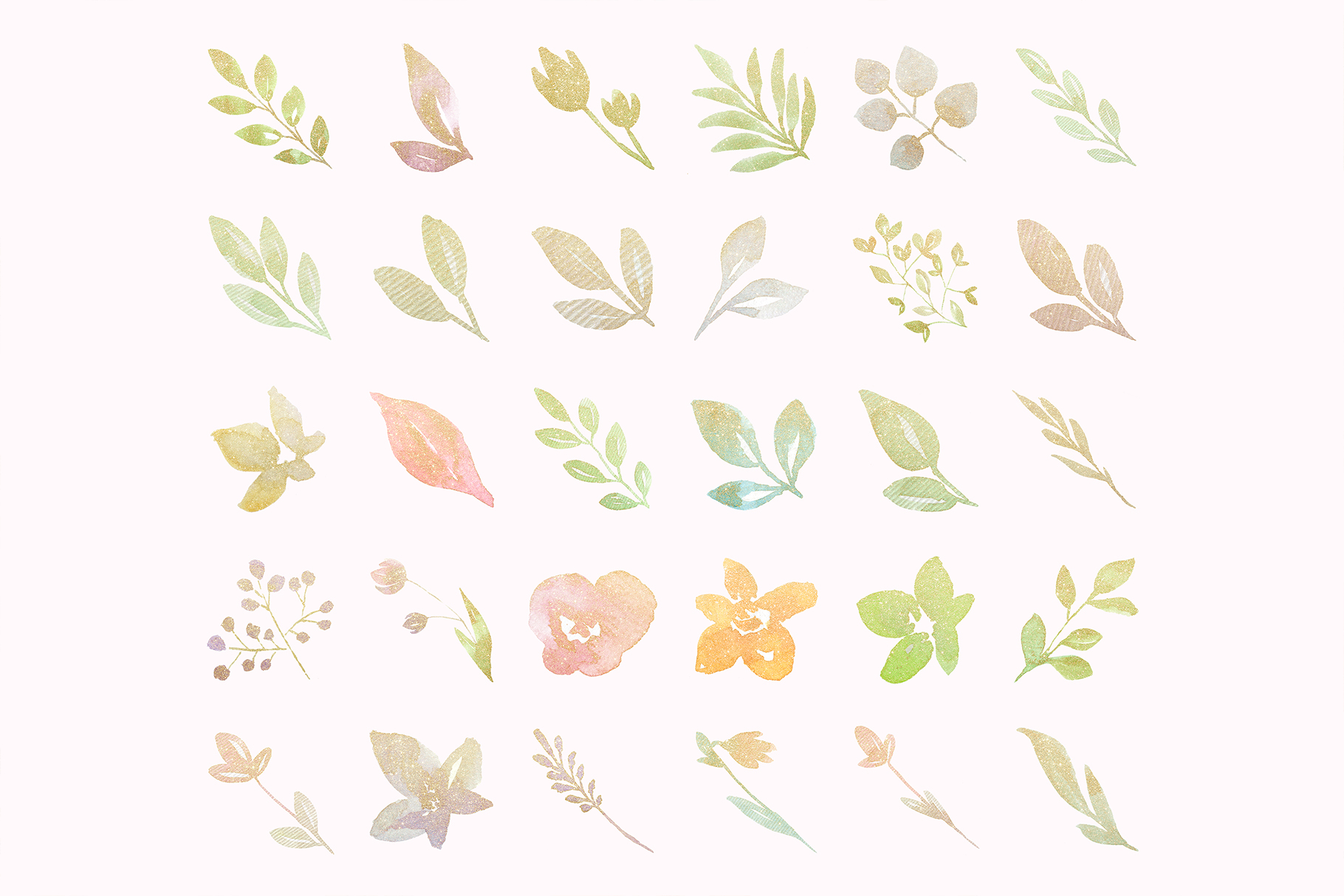 Gold glitter pastel watercolor flowers, gold glitter leaves example image 2