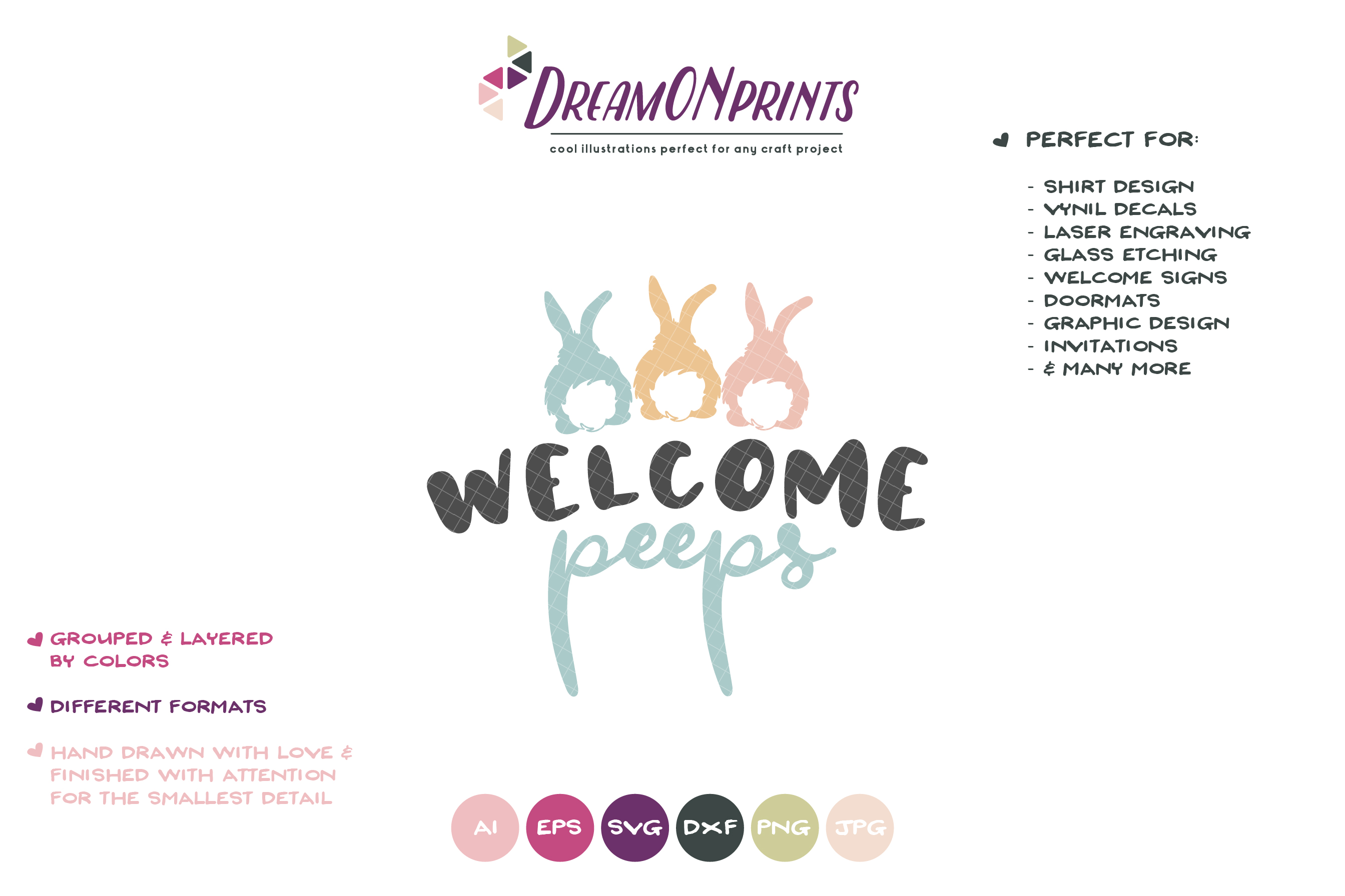 Welcome Peeps SVG - Easter Bunnies SVG example image 2