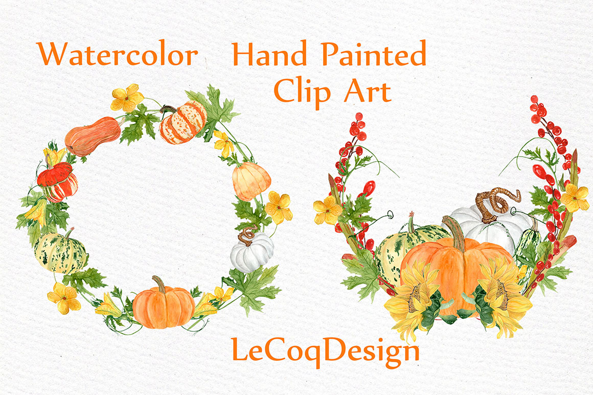 Watercolor pumpkin clipart example image 4