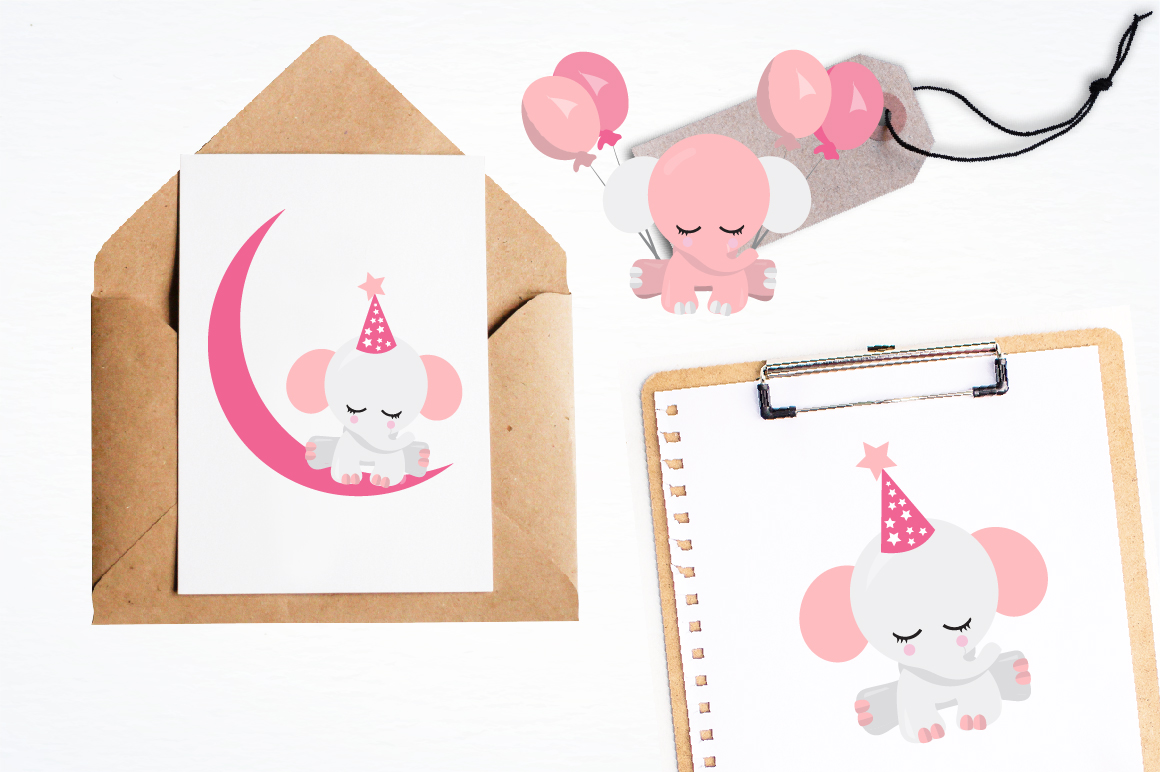 Baby girl Elephant graphics and illustrations example image 4
