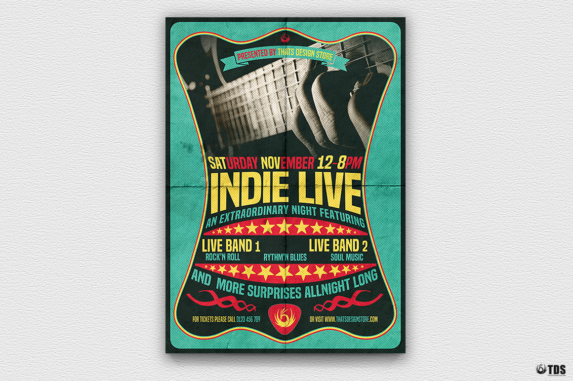 Indie Live Flyer Template example image 2