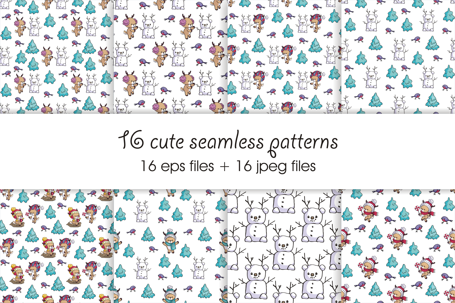 Little fawns. Christmas doodles and seamless patterns example image 4