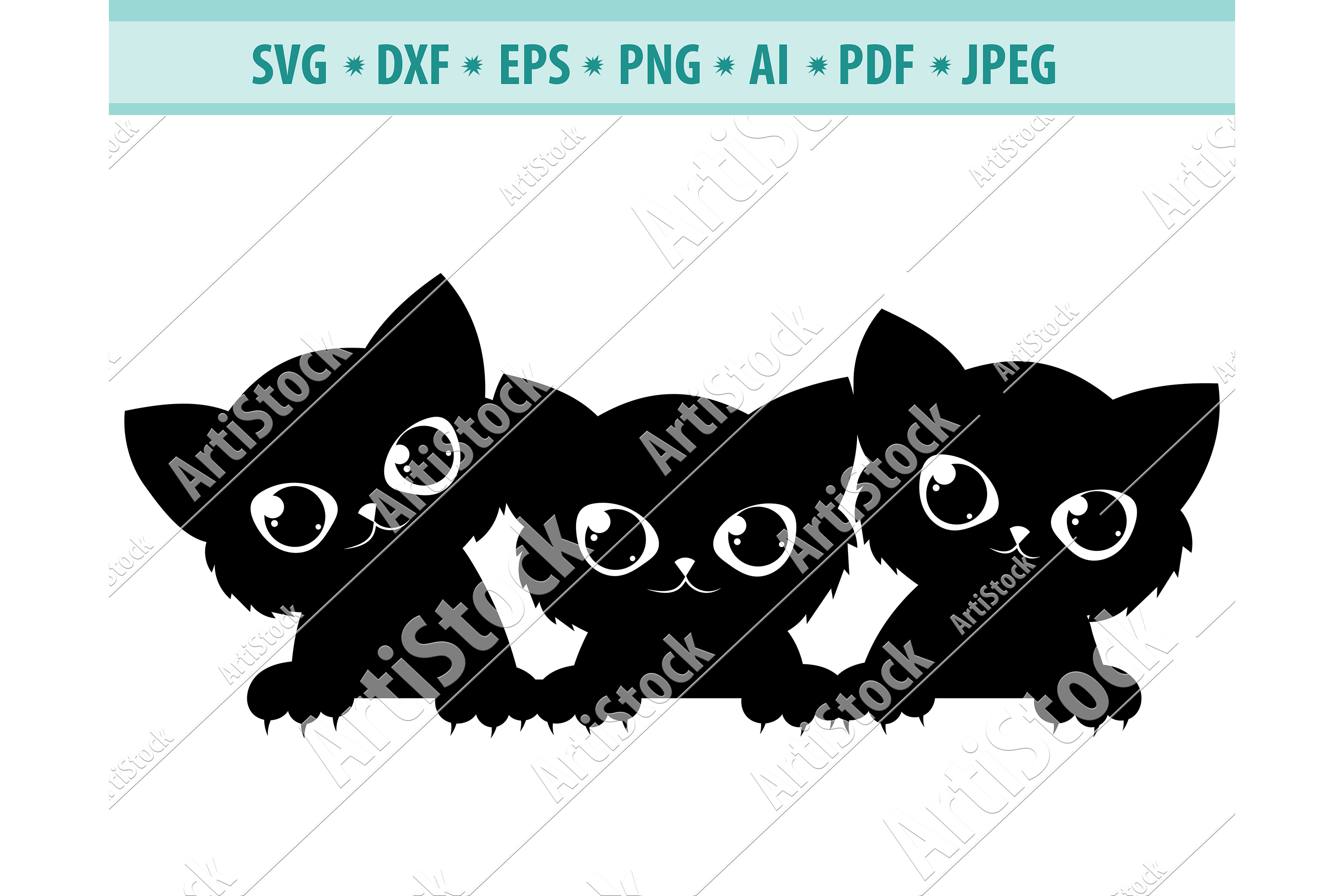 Cats peeking Svg, Cute fun kittens Svg, Pets Dxf, Png, Eps example image 1