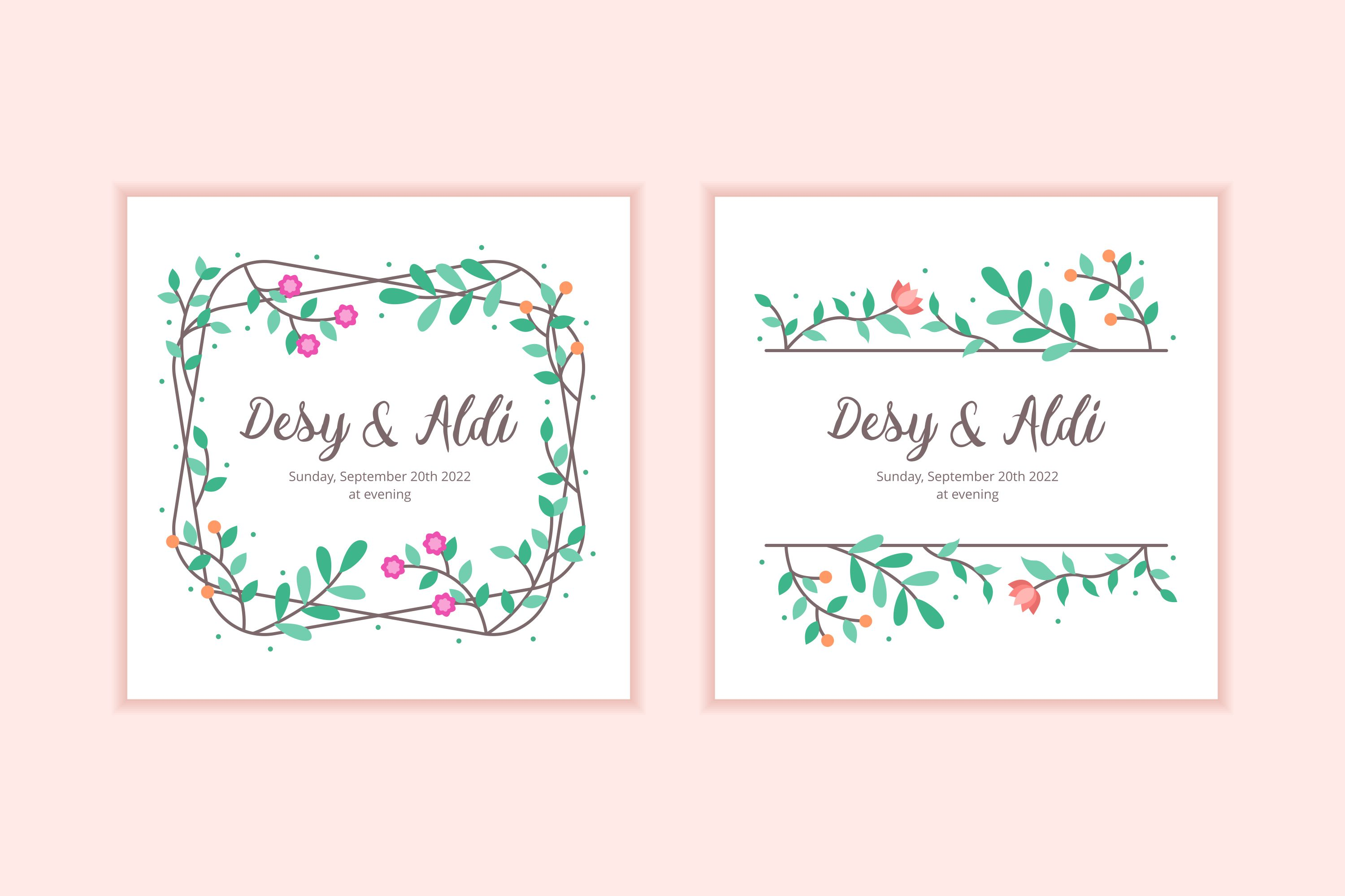 10 Floral Frame Wedding Invitation Template example image 5