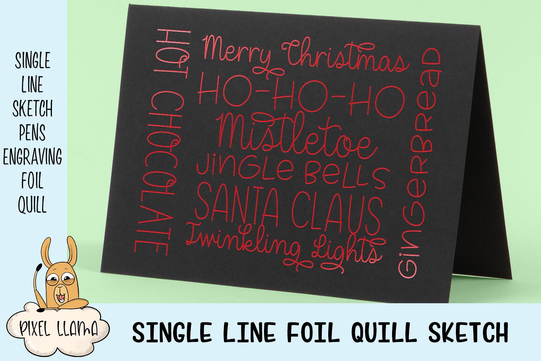 Christmas Card Word Art Single Line Sketch - 2 Versions example image 2