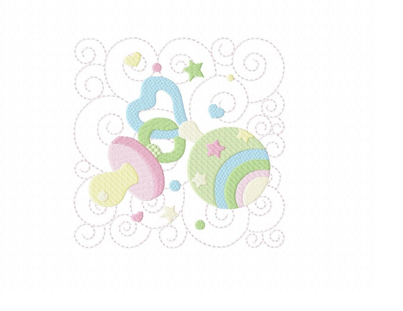 Baby Quilt Block 1 - Machine Embroidery Design in 3 sizes example image 1