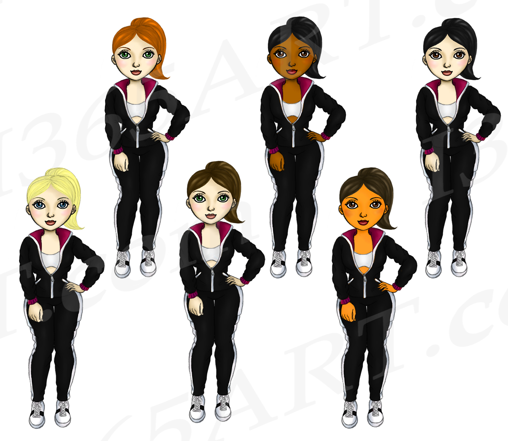 Fitness Girls in Jogging Suits Clipart Digital Graphics example image 3