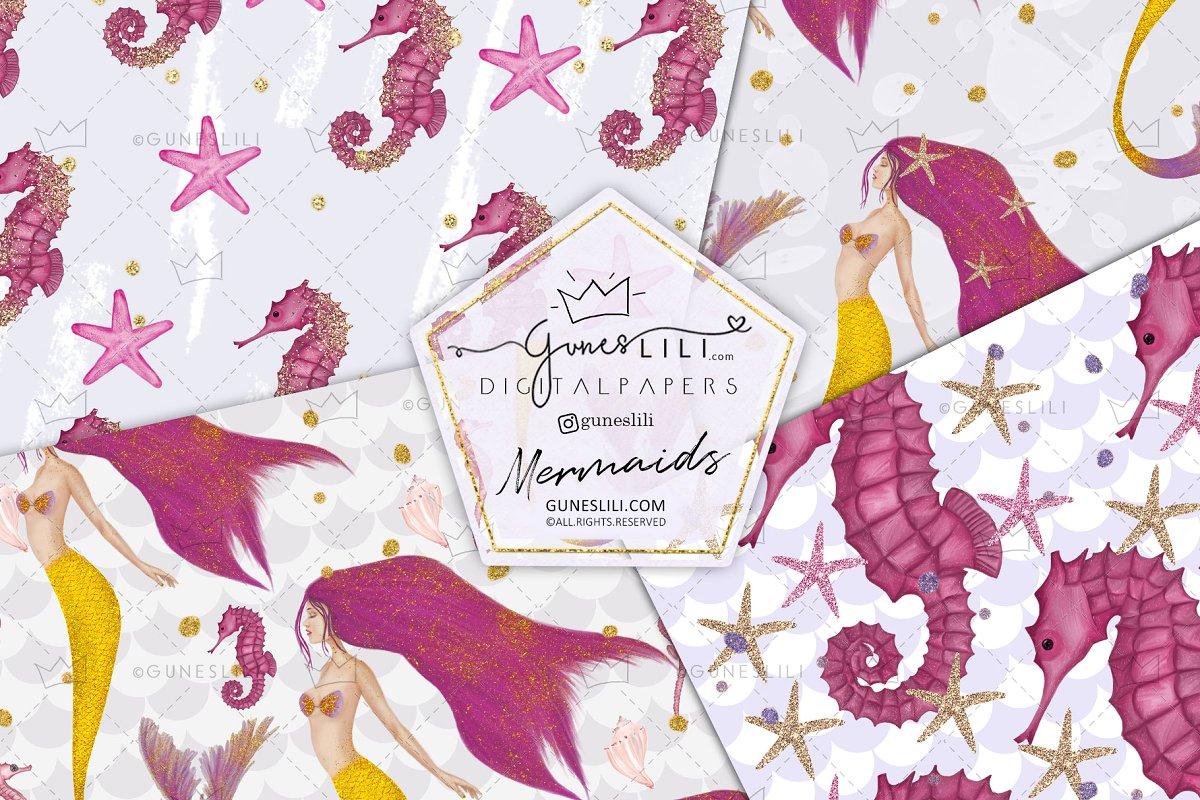 Pink Mermaids Digital Paper Seamless Pattern example image 2