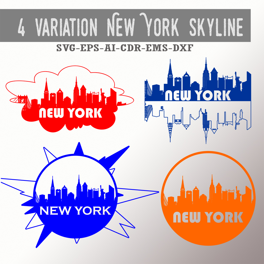 4 New York skyline designs - SVG, EPS, PNG, JPG, DXF, AI example image 2