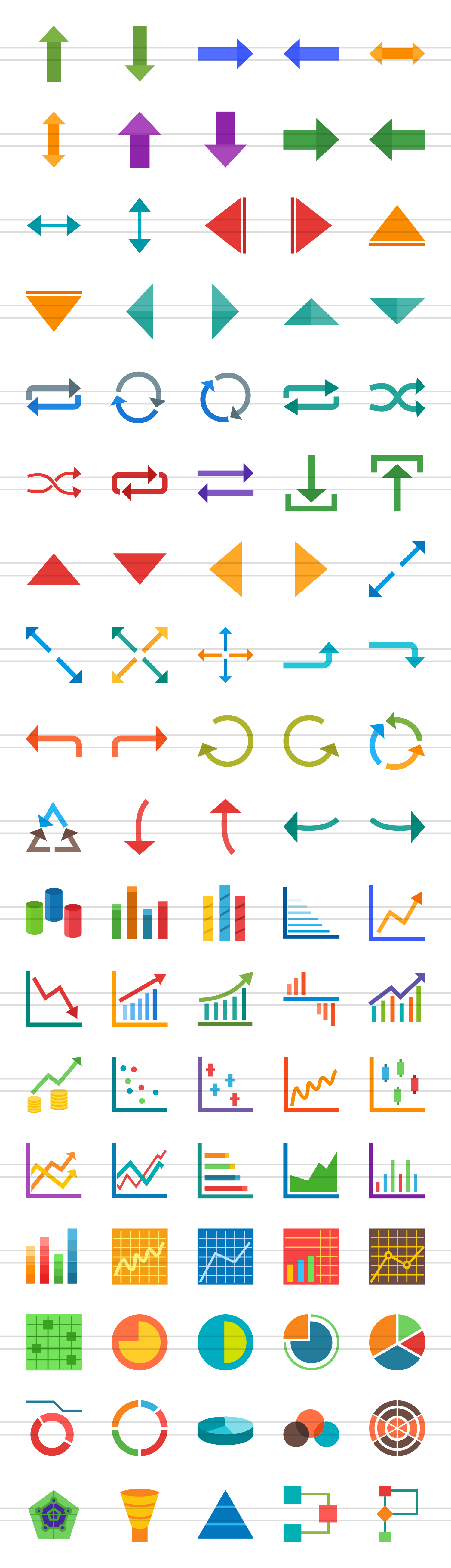 90 Infographics Flat Icons example image 2