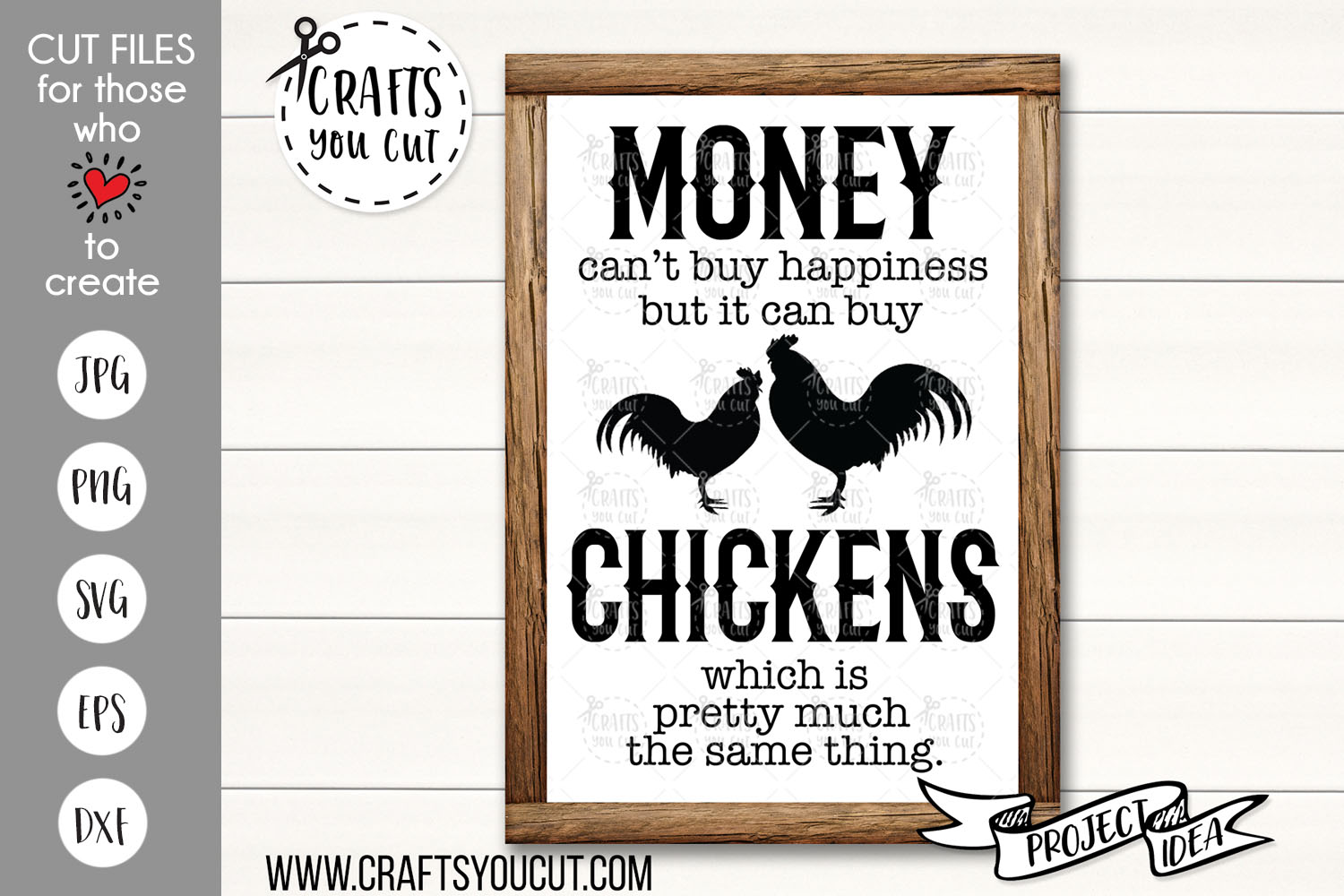Money Can't Buy Happiness But It Can Buy Chickens - SVG Cut example image 1