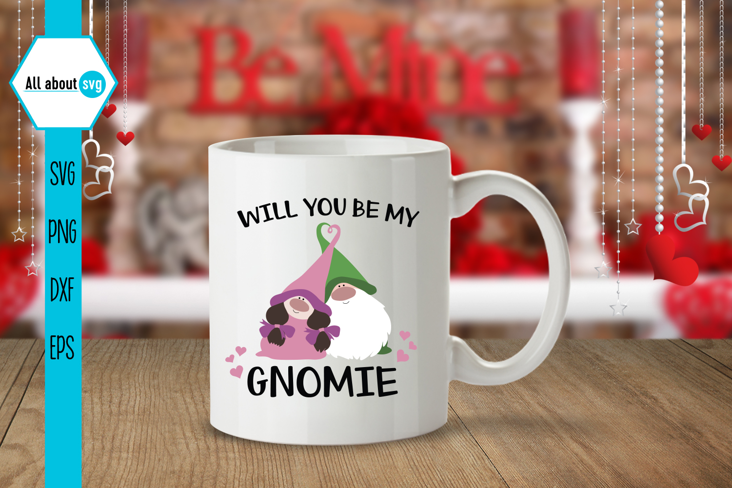 Will You Be My Gnomie Svg, Valentine's Gnomies Svg example image 4