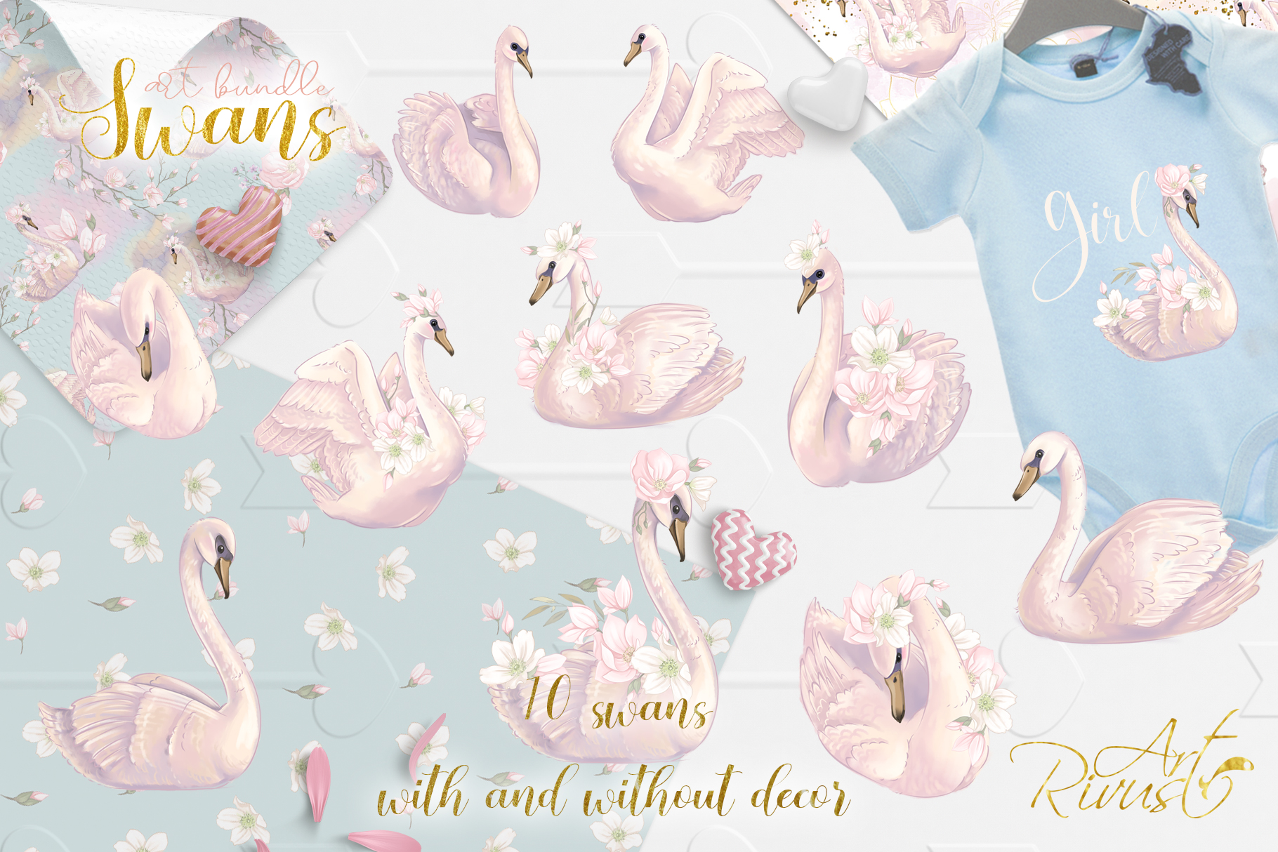 Swans clipart bundle. Wedding and baby shower graphic pack. example image 2