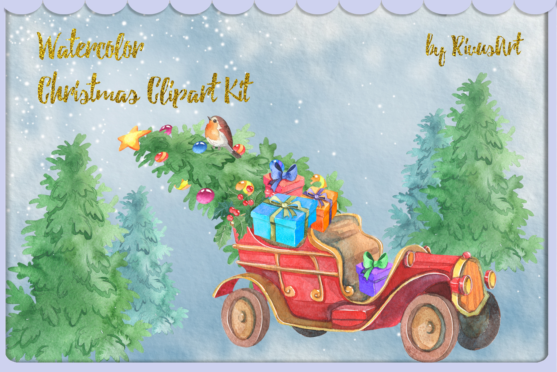 Watercolor Christmas clipart set example image 4