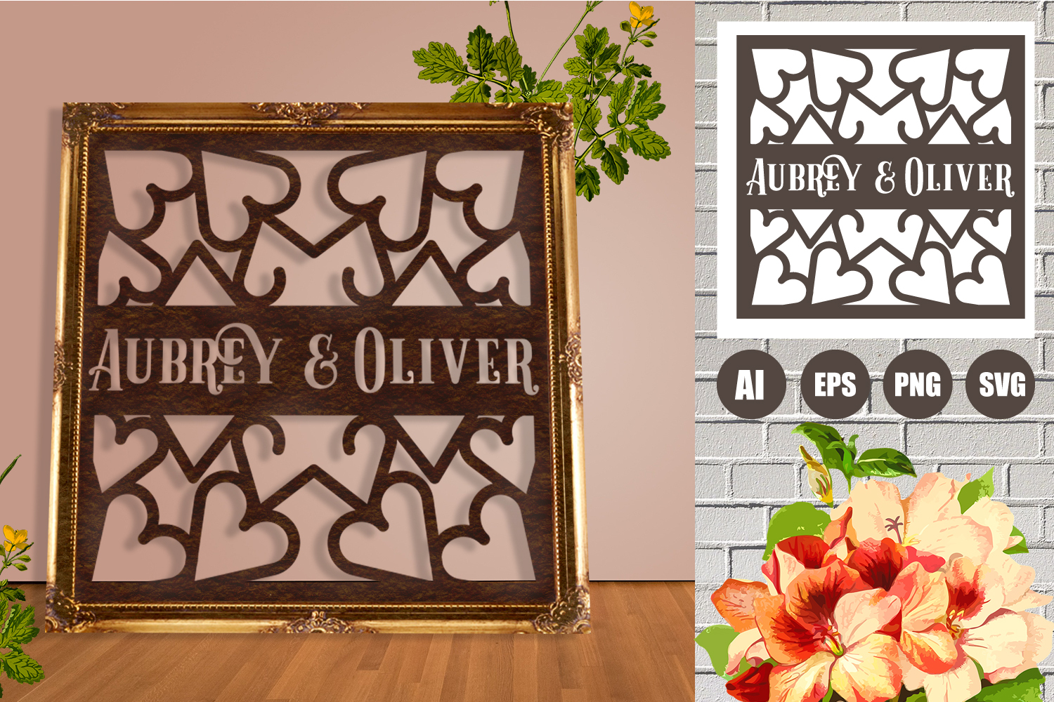 Wedding Hearts Frame Paper Cut SVG, AI, EPS example image 1