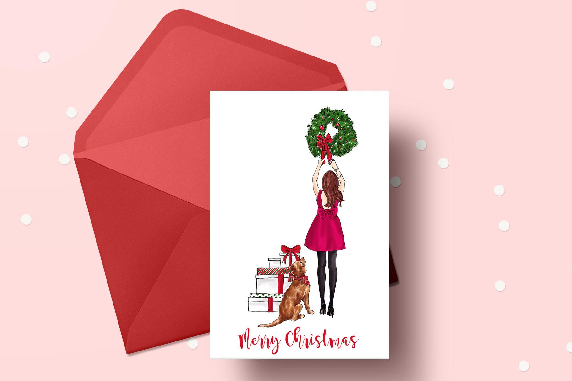 Fashion illustration - Christmas Girl 7 - Redhead example image 6