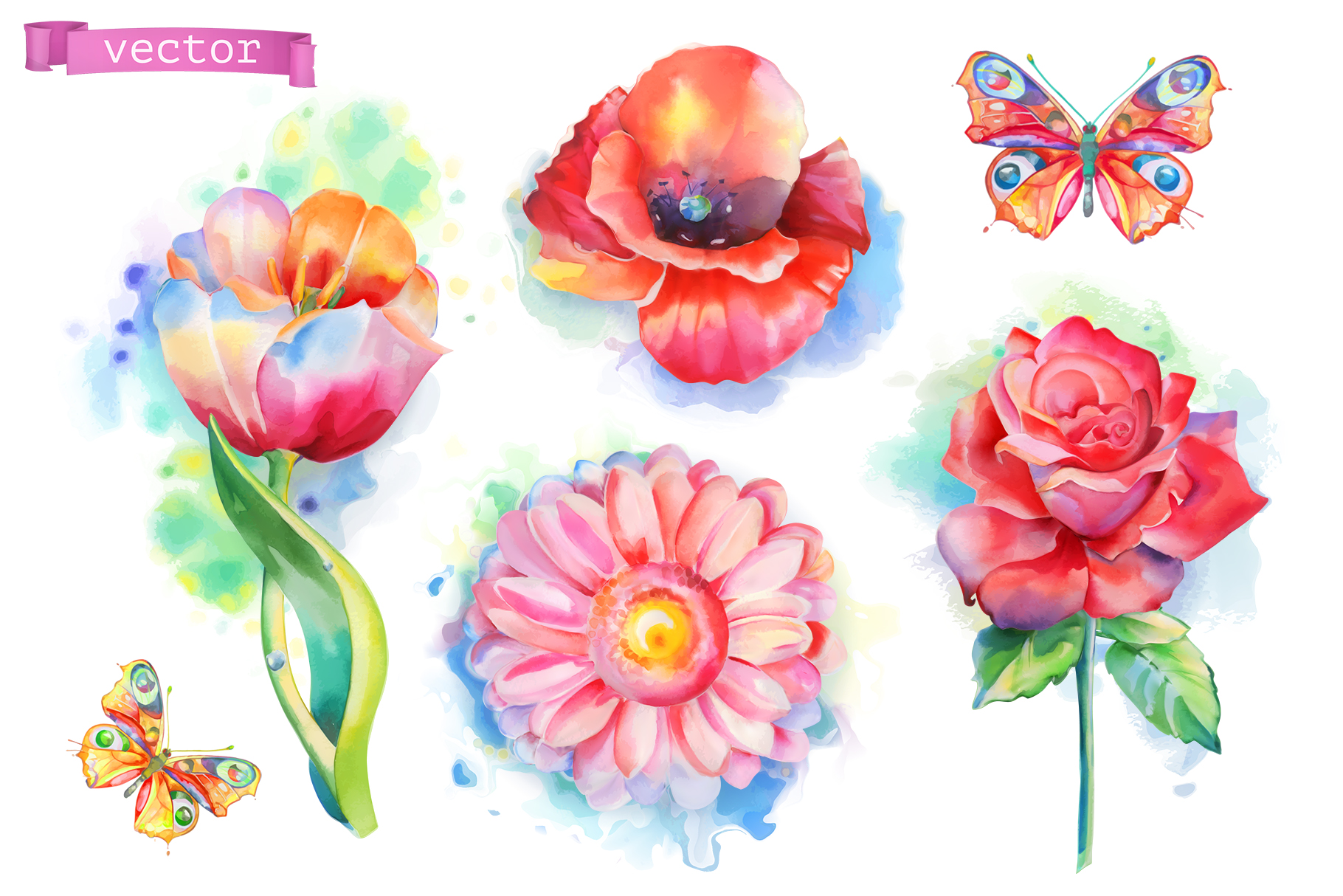 Flowers set. Rose and other plants. Watercolor, vector icons example image 1