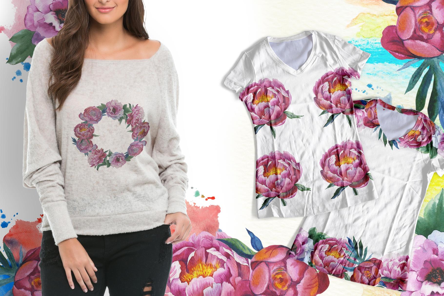 Colorful peonies JPG watercolor flower set  example image 8