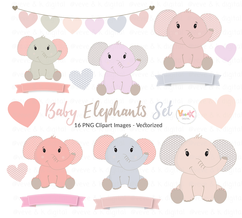 Cute Elephants Clip Art, Elephant Clipart set, Baby Girl ...