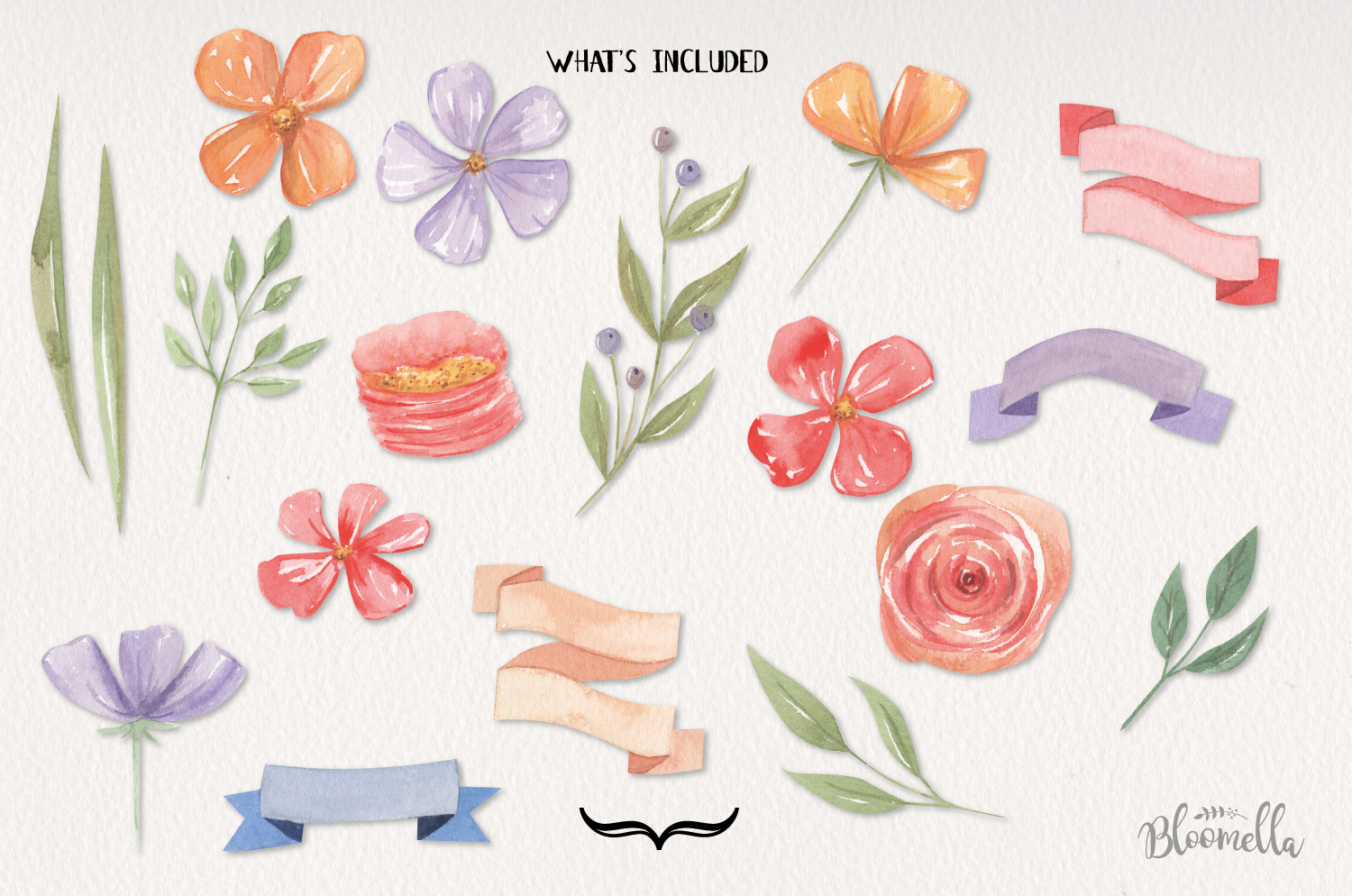 Floss Florals 18 Watercolor Elements Red Purple Flowers example image 3