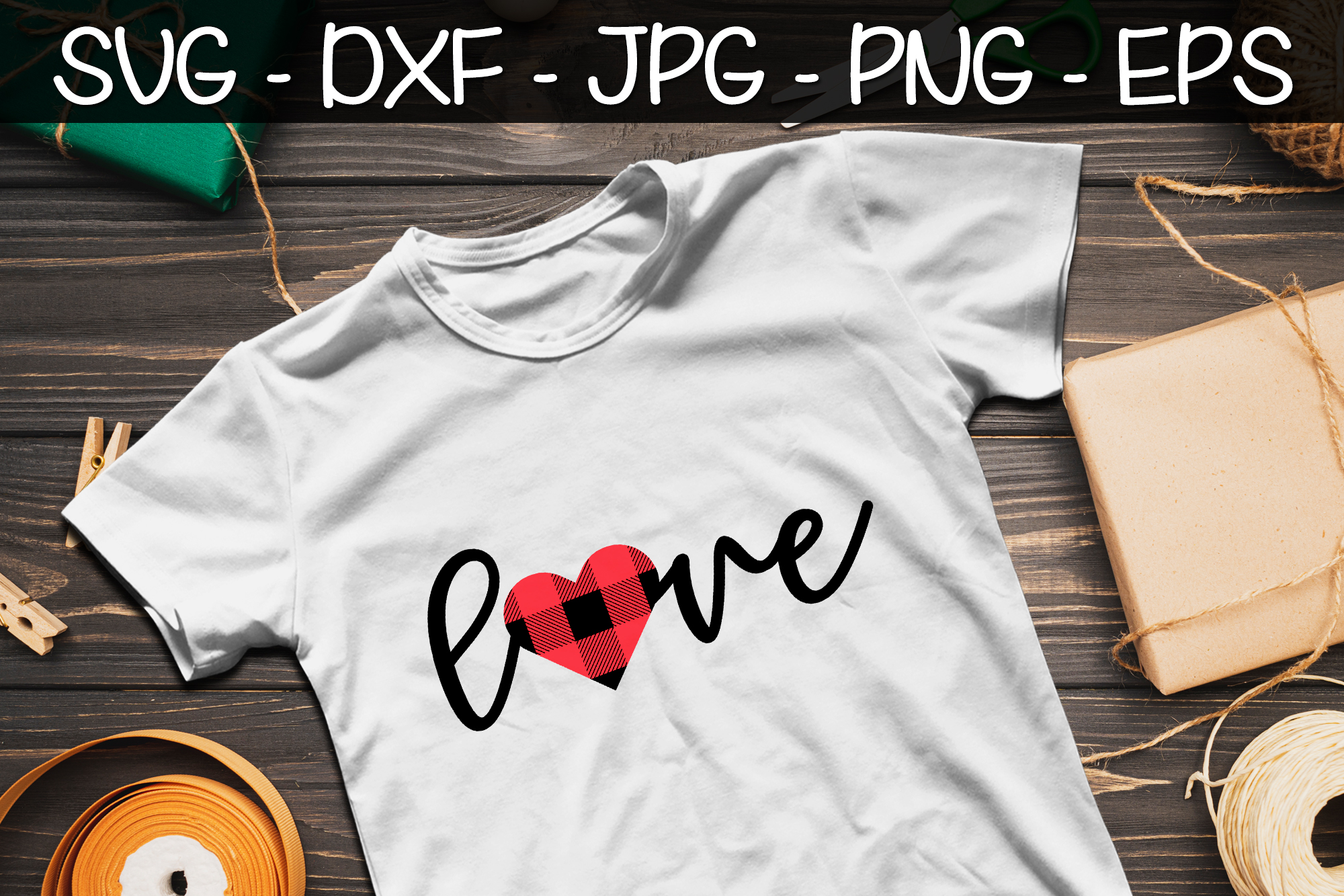 Valentines Day Buffalo Plaid SVG PNG EPS Valentine's Day SVG example image 2