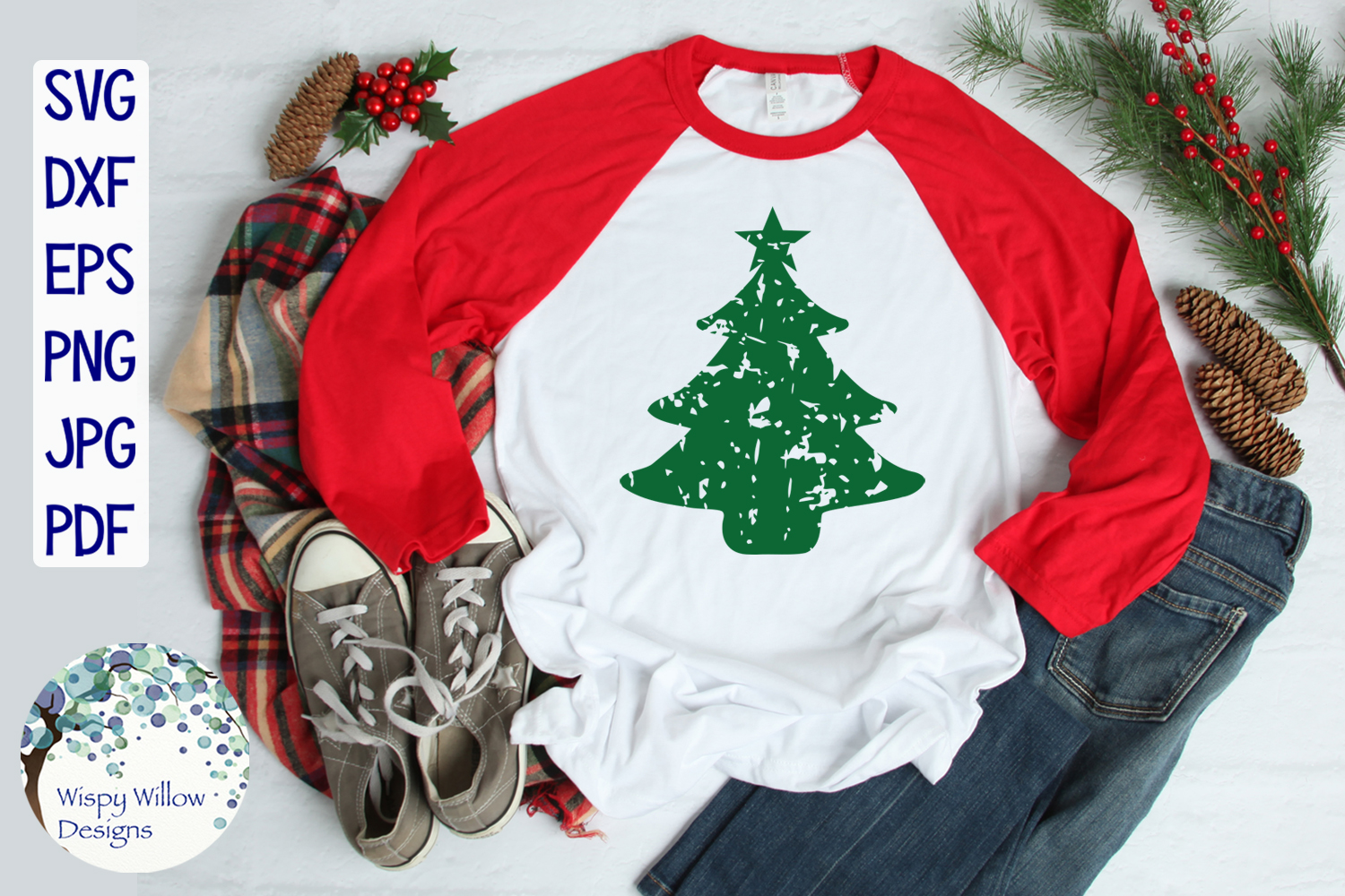 Distressed Grunge Christmas Tree | Christmas SVG example image 2