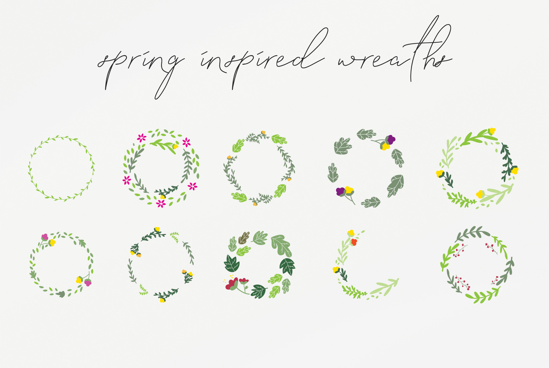 20 Spring Wreaths Vector Pack example image 3