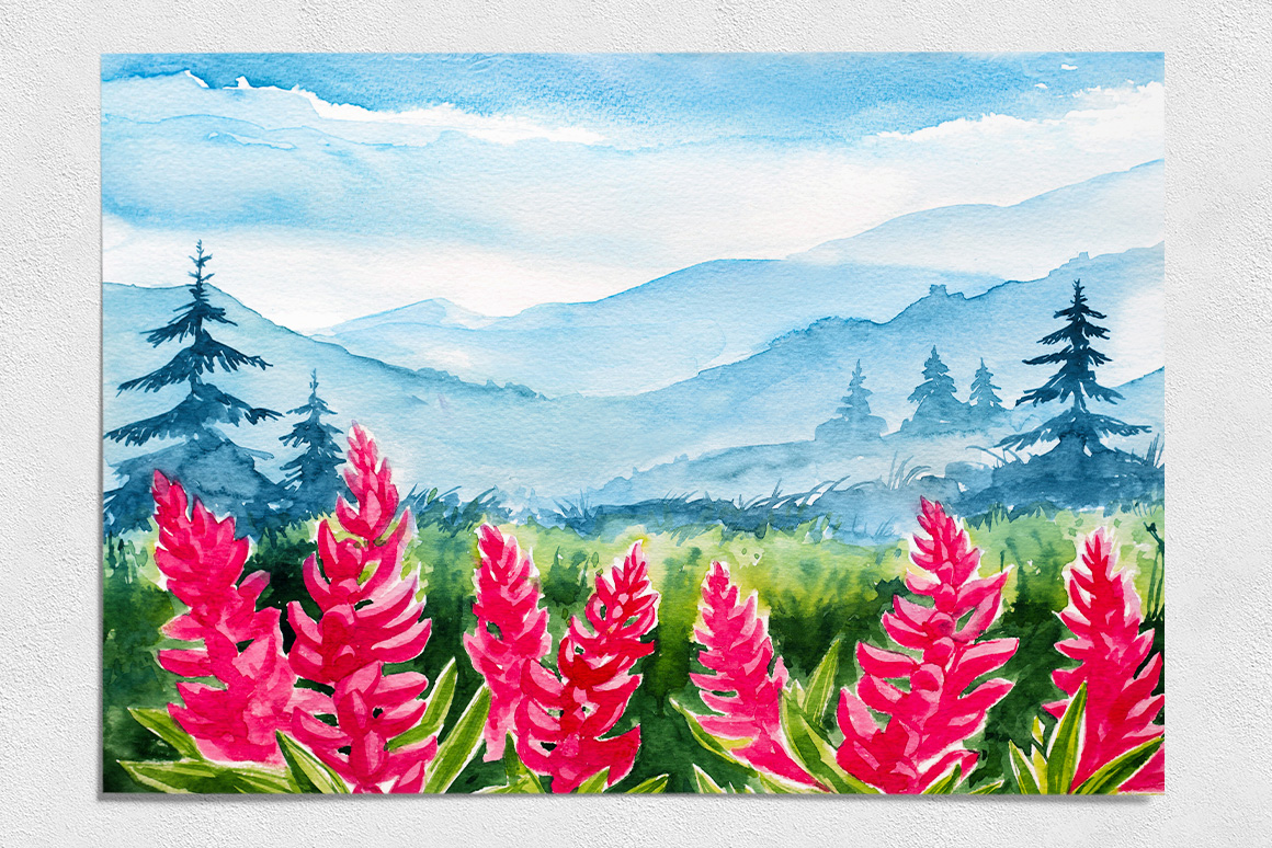 Spring Landscapes. Watercolor. example image 10