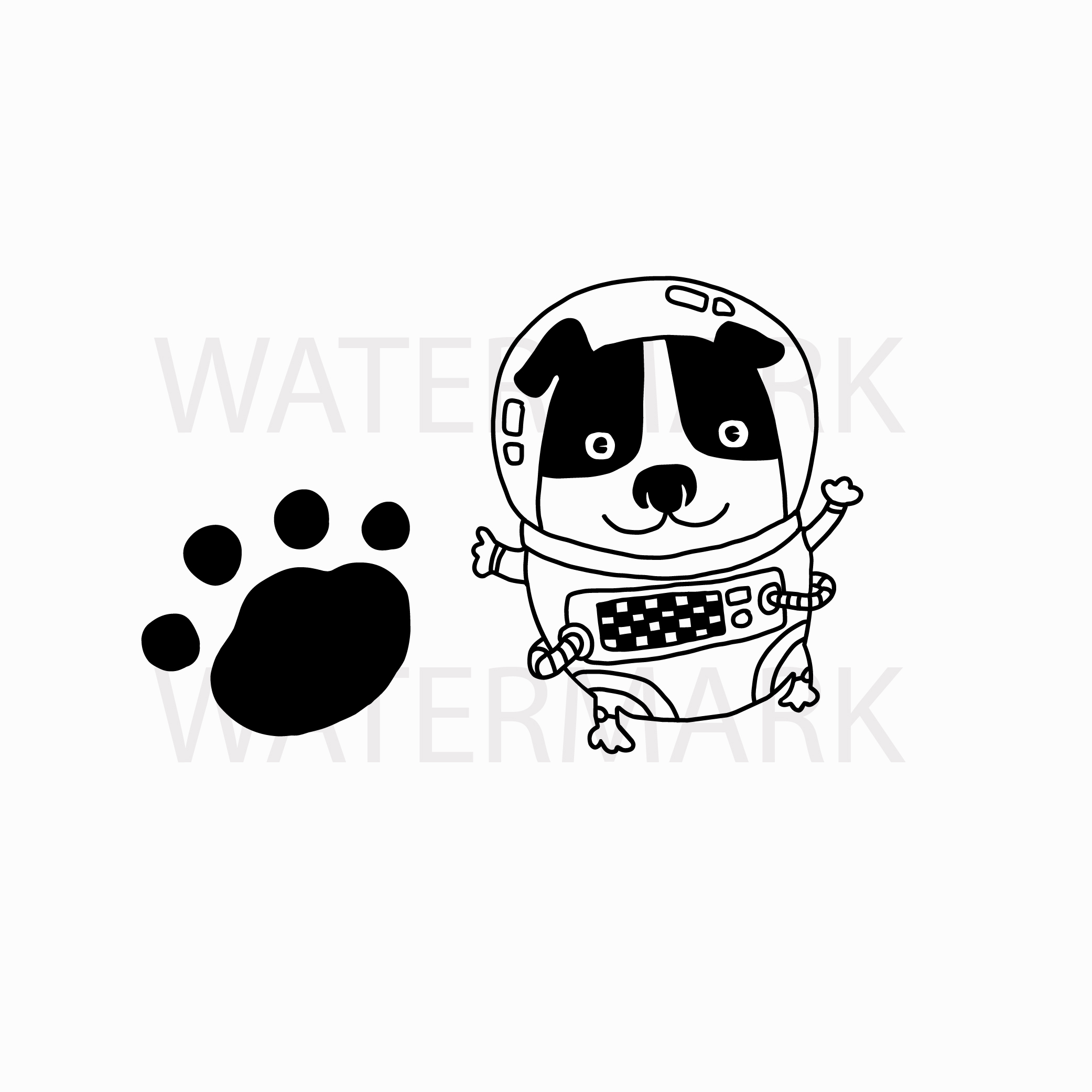 Astronaut Dog and footprint - One Small Step of dog for all dogkind - SVG/JPG/PNG Hand Drawing example image 1