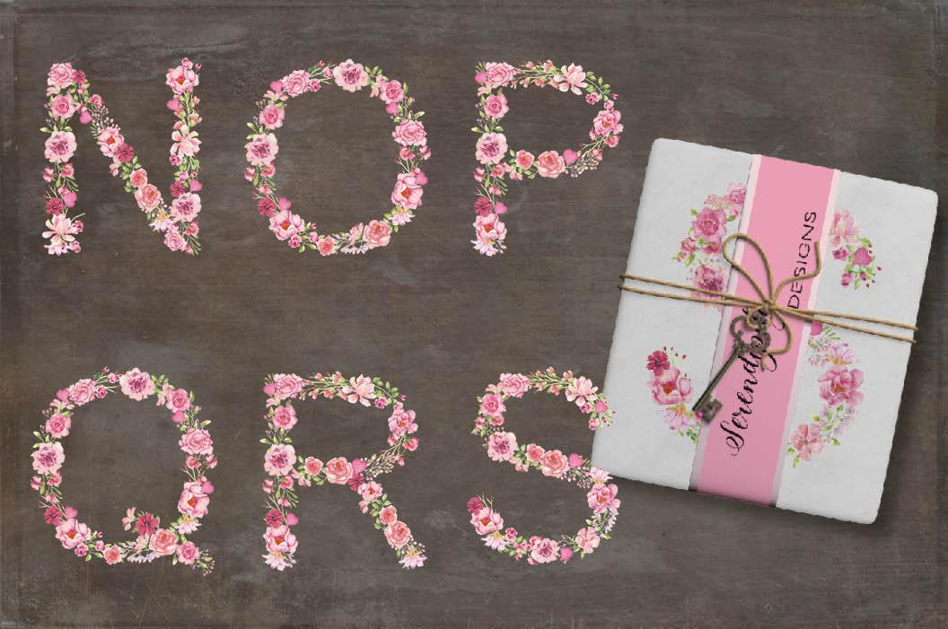 Pink floral alphabet in watercolors plus FREEBIE example image 4