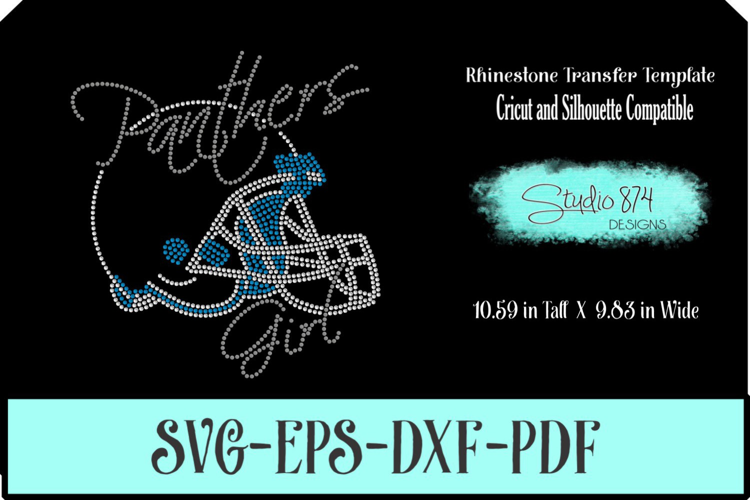 Panthers Football Rhinestone Template Download Girl R1 example image 1