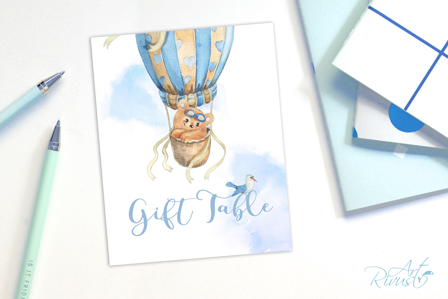 Printable Hot Air Balloons Baby Shower Table Signs - 6 Signs example image 7