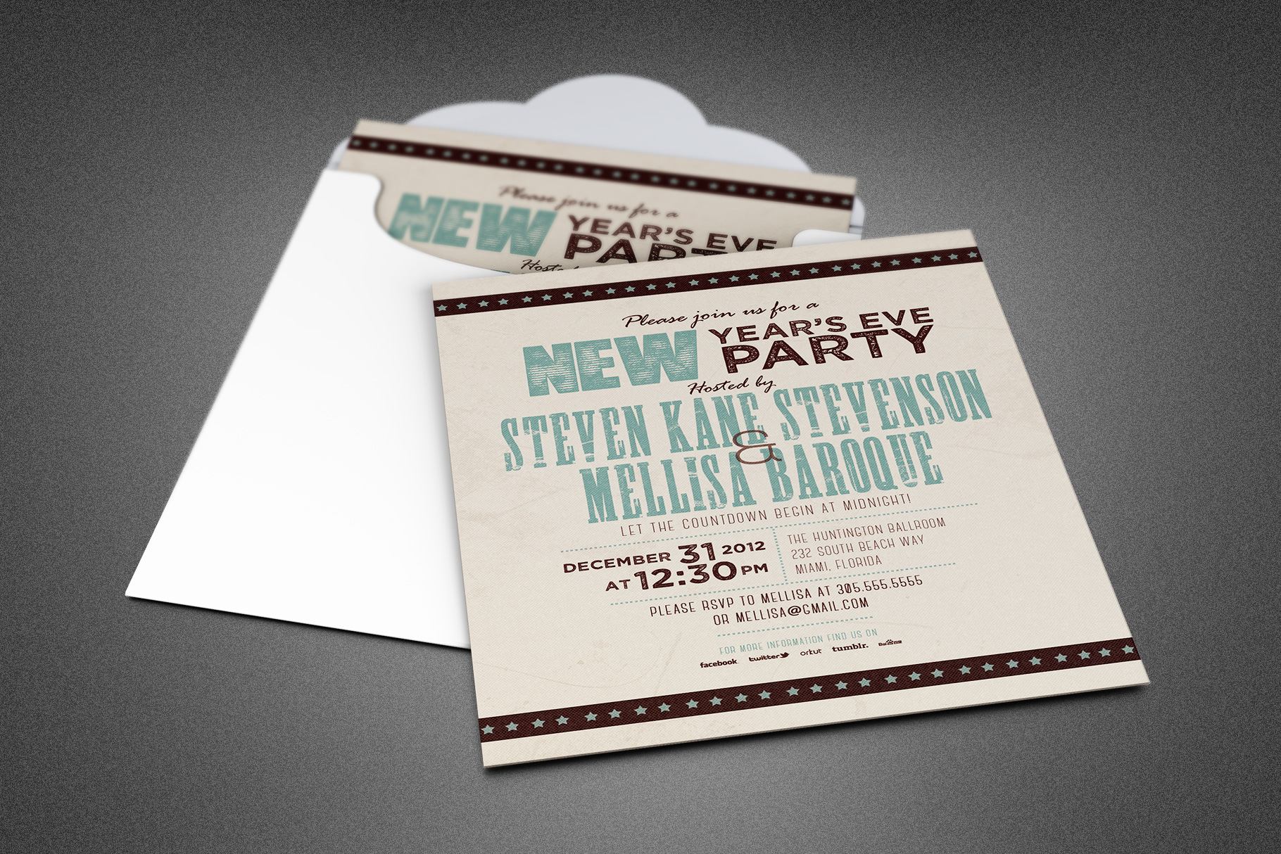 Retro New Year Party Invite Card Template example image 1