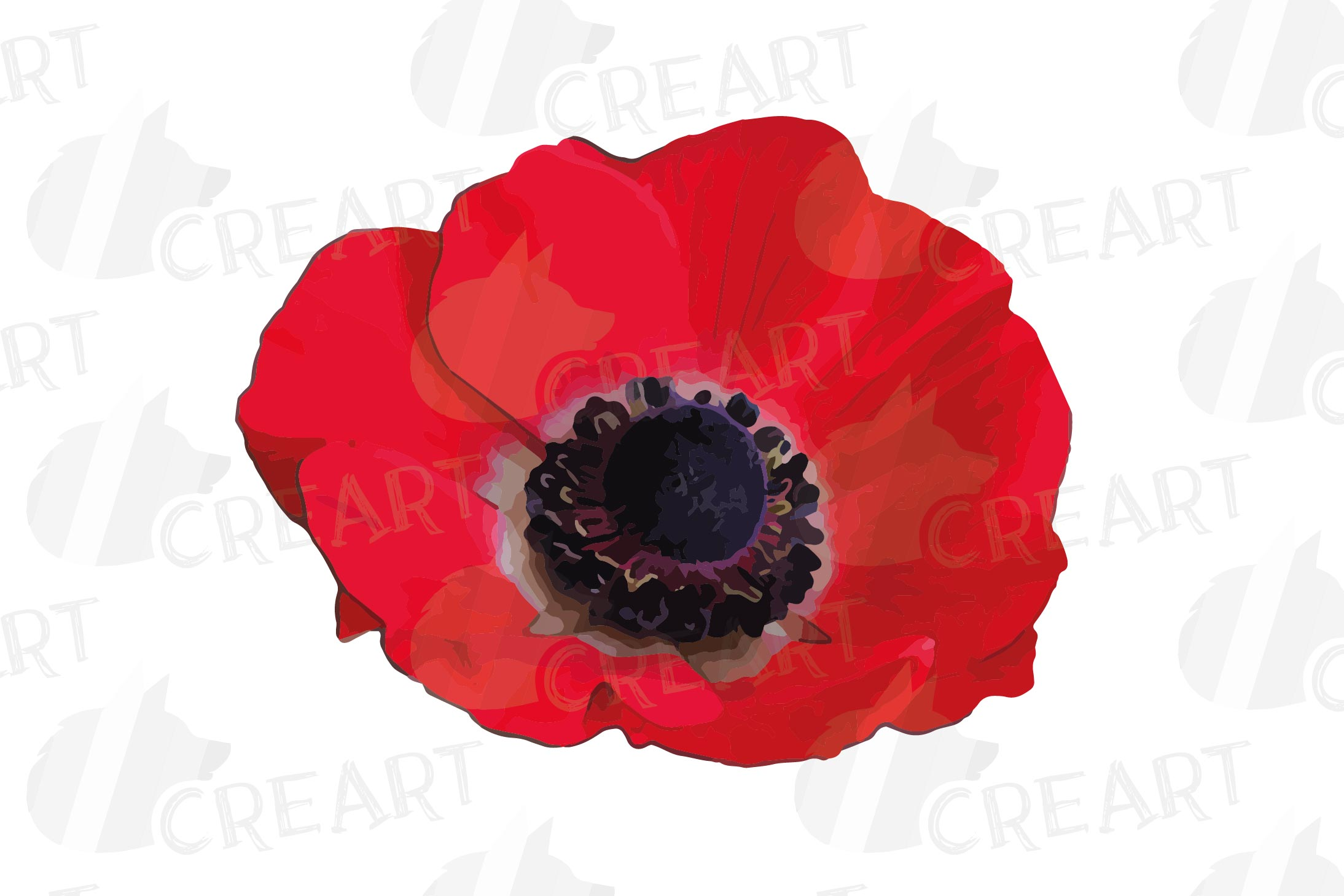 Anemone watercolor clip art pack, watercolor anemone design example image 12