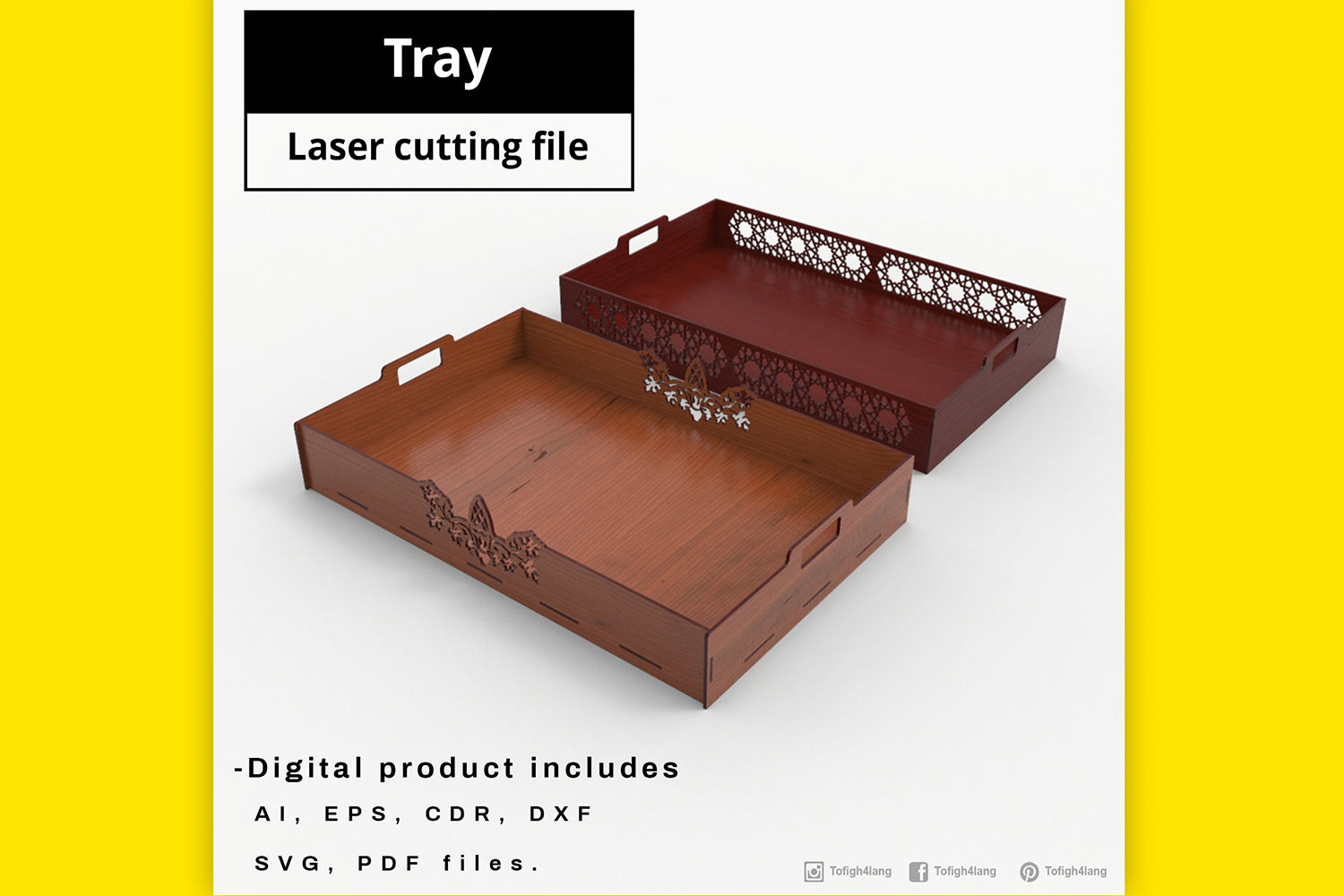 Tray - laser cut file example image 3