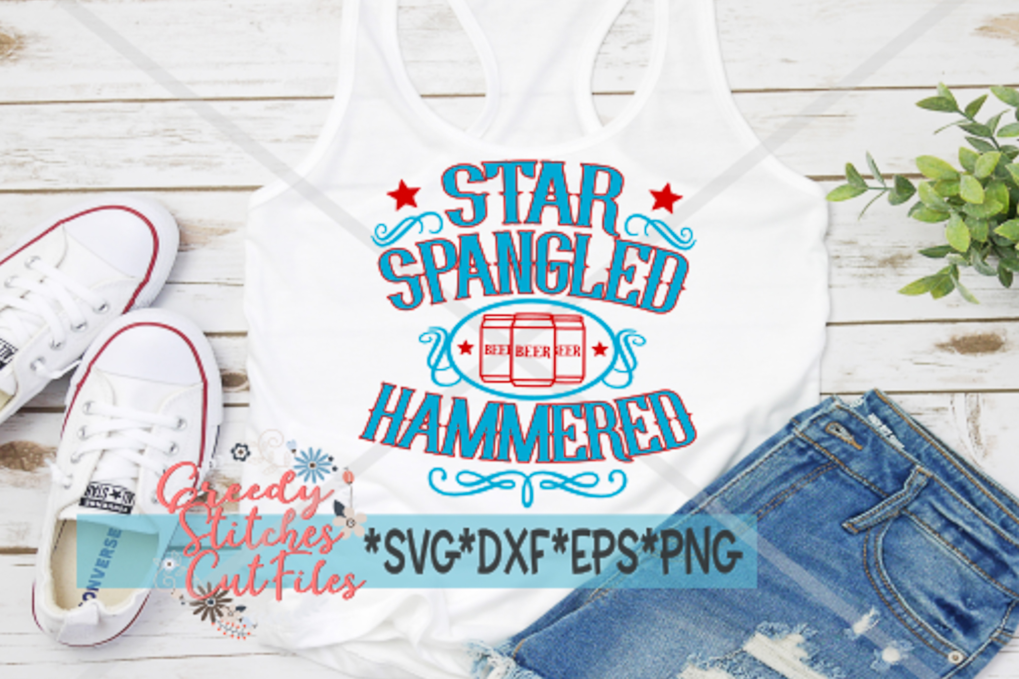July 4th SVG, Star Spangled Hammered SVG, DXF, EPS, PNG example image 1