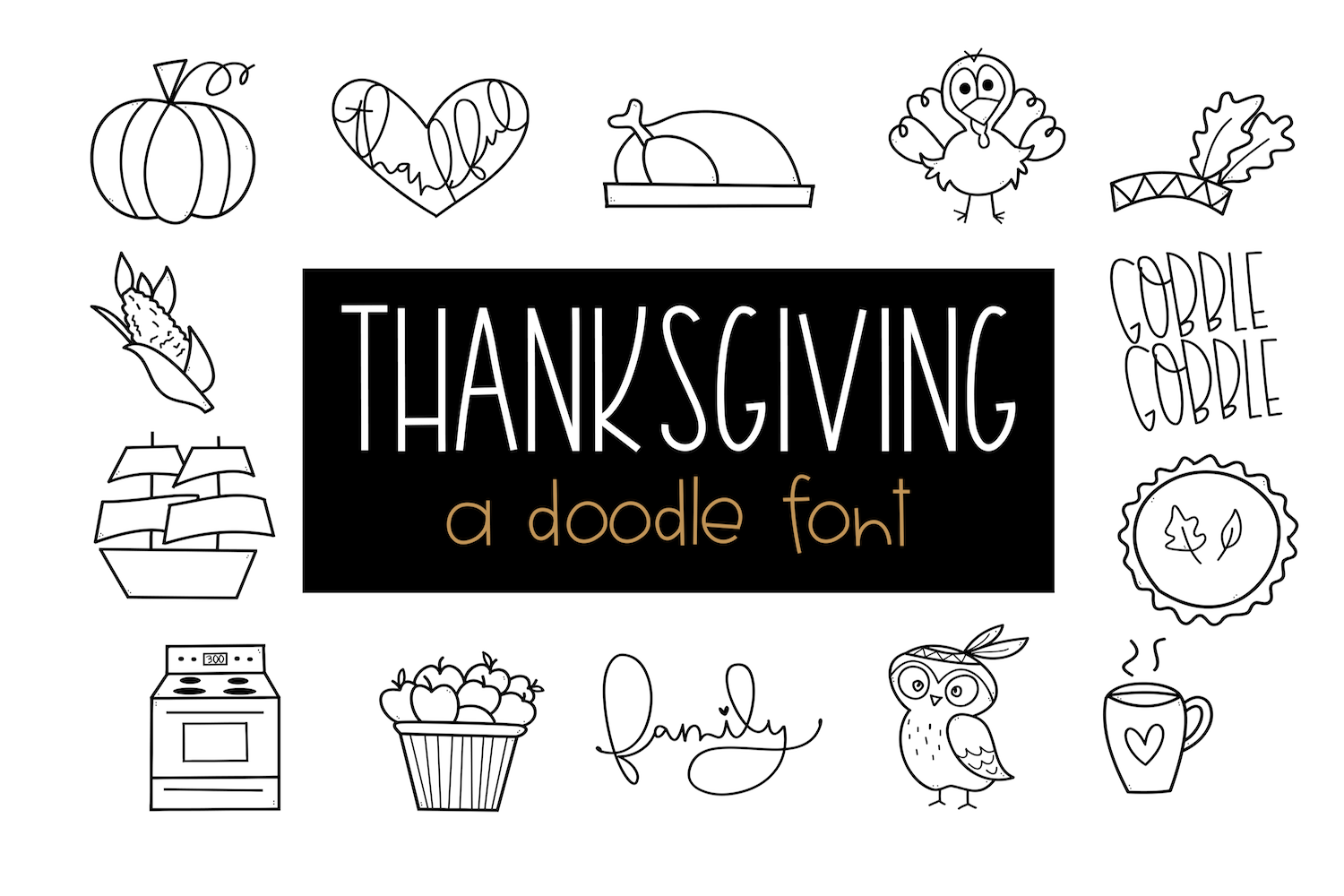 Gobble Gobble - A Thanksgiving / Fall Doodles Font example image 1