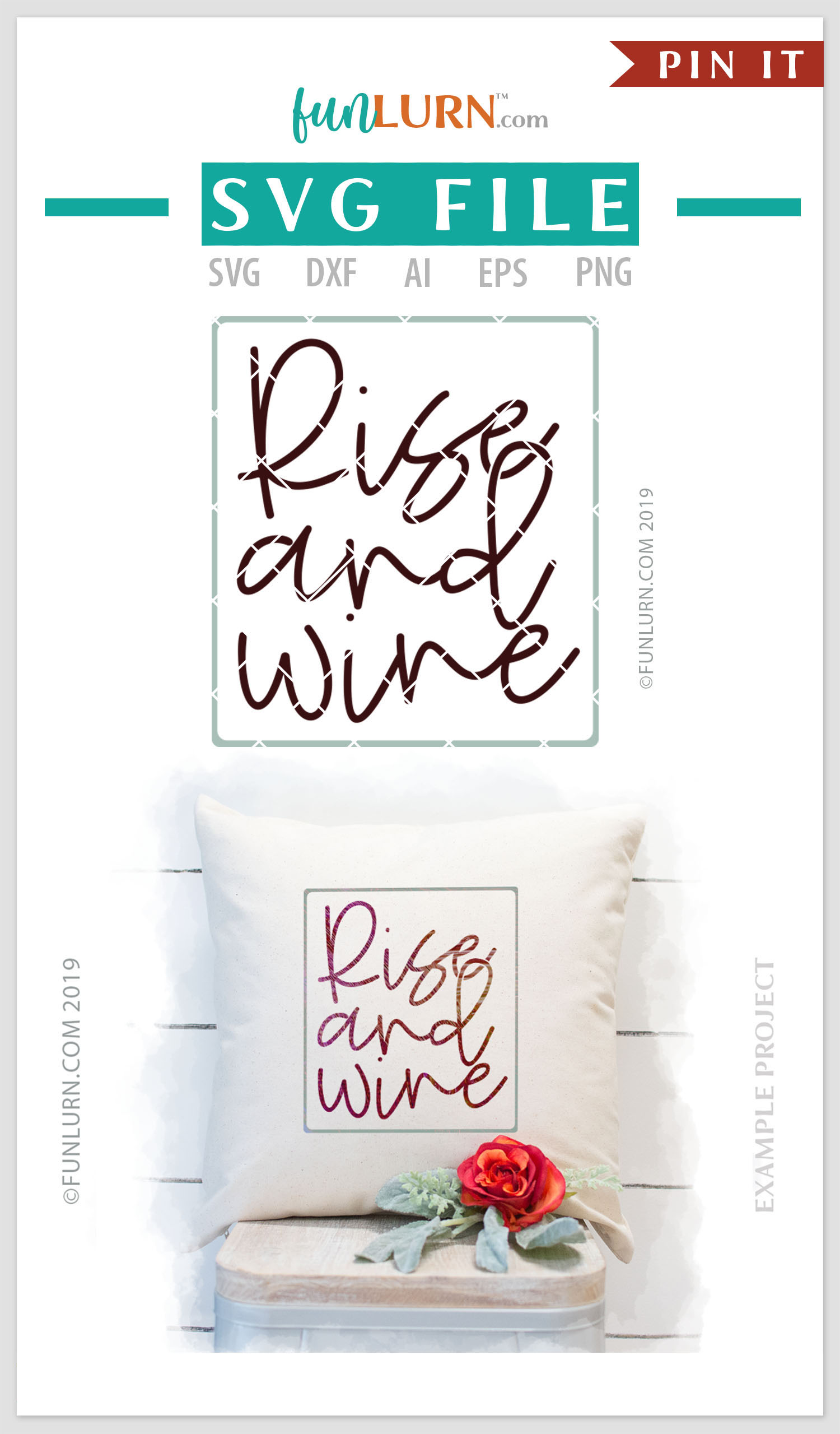 Rise and Wine SVG Cut File example image 4