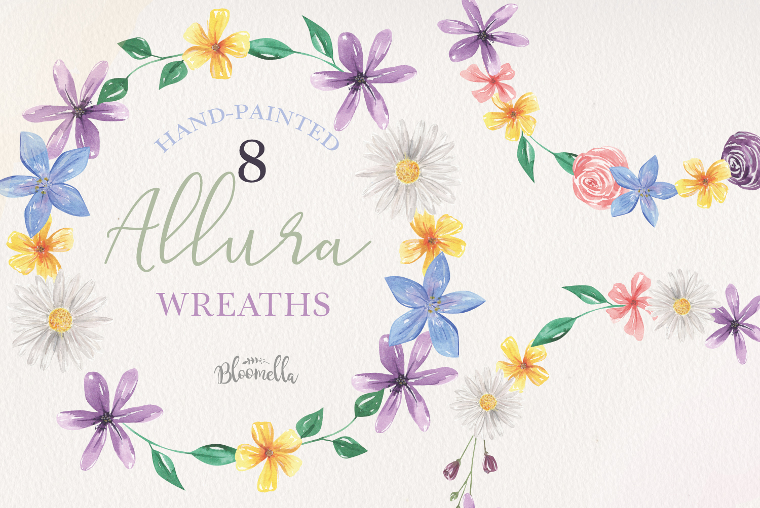 Allura 8 Flora Pretty Flowers Floral Wreath Watercolor Blue example image 1