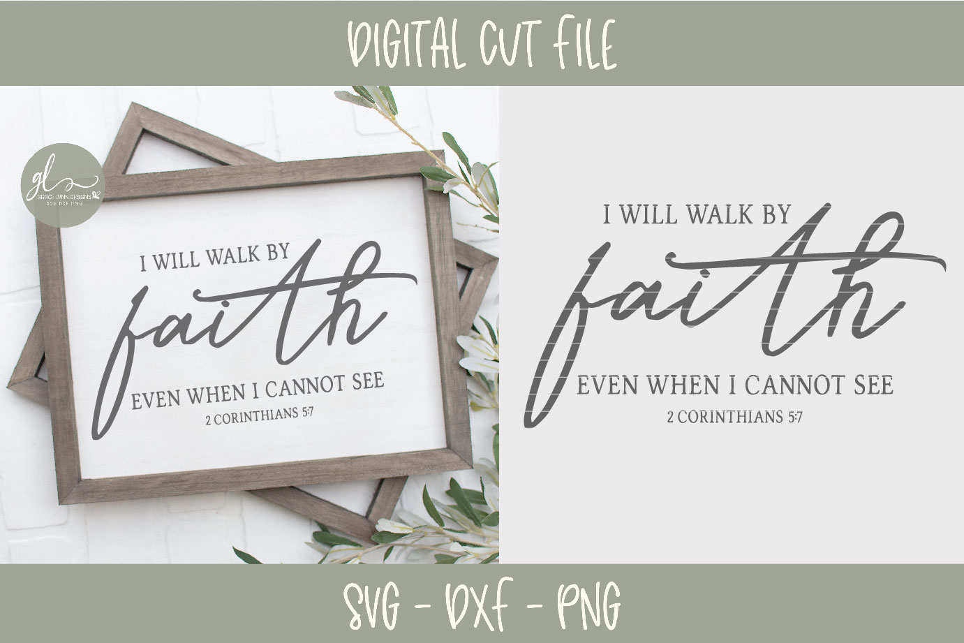 I Will Walk By Faith Even When I Cannot See - Scripture SVG example image 2