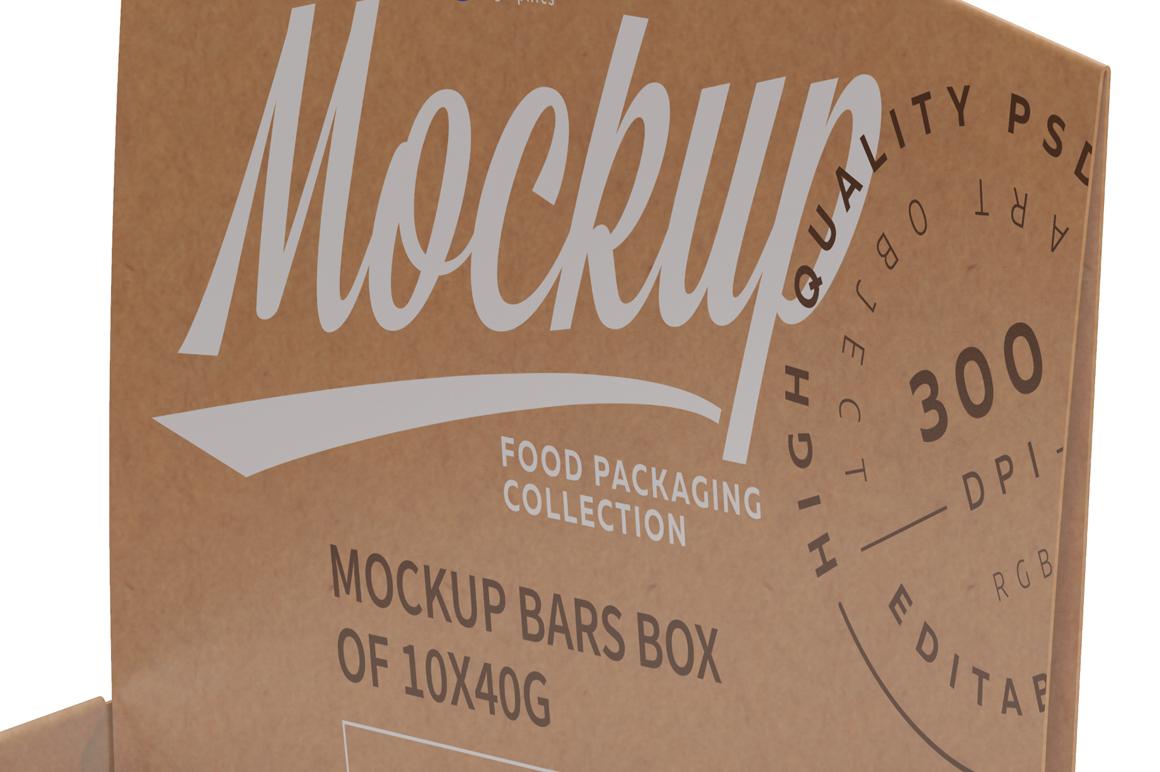 Kraft Bars and Box of 10x40g Mockup example image 4