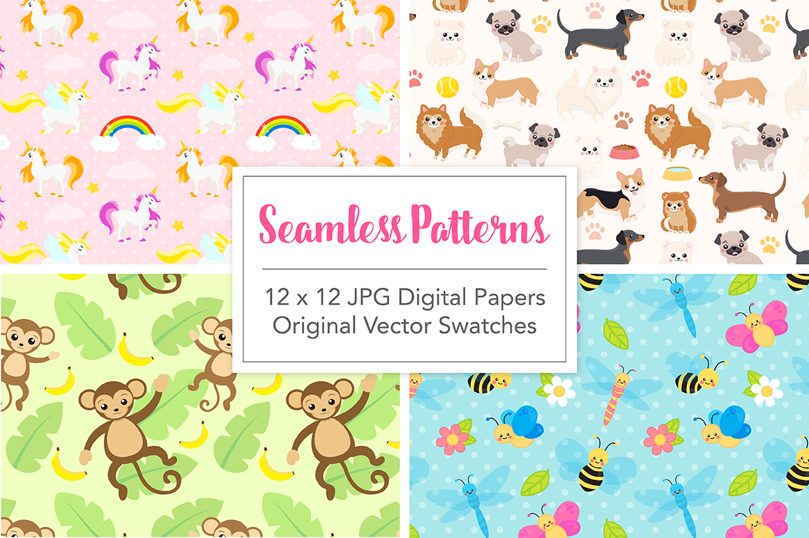 Cute Baby Animals Clip art Graphics and Digital Papers Patterns Bundle example image 4