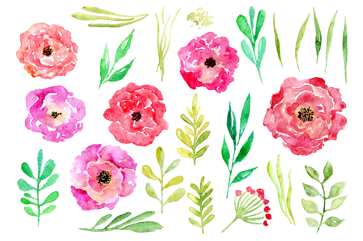 Watercolor flower set, 24 png elements example image 2