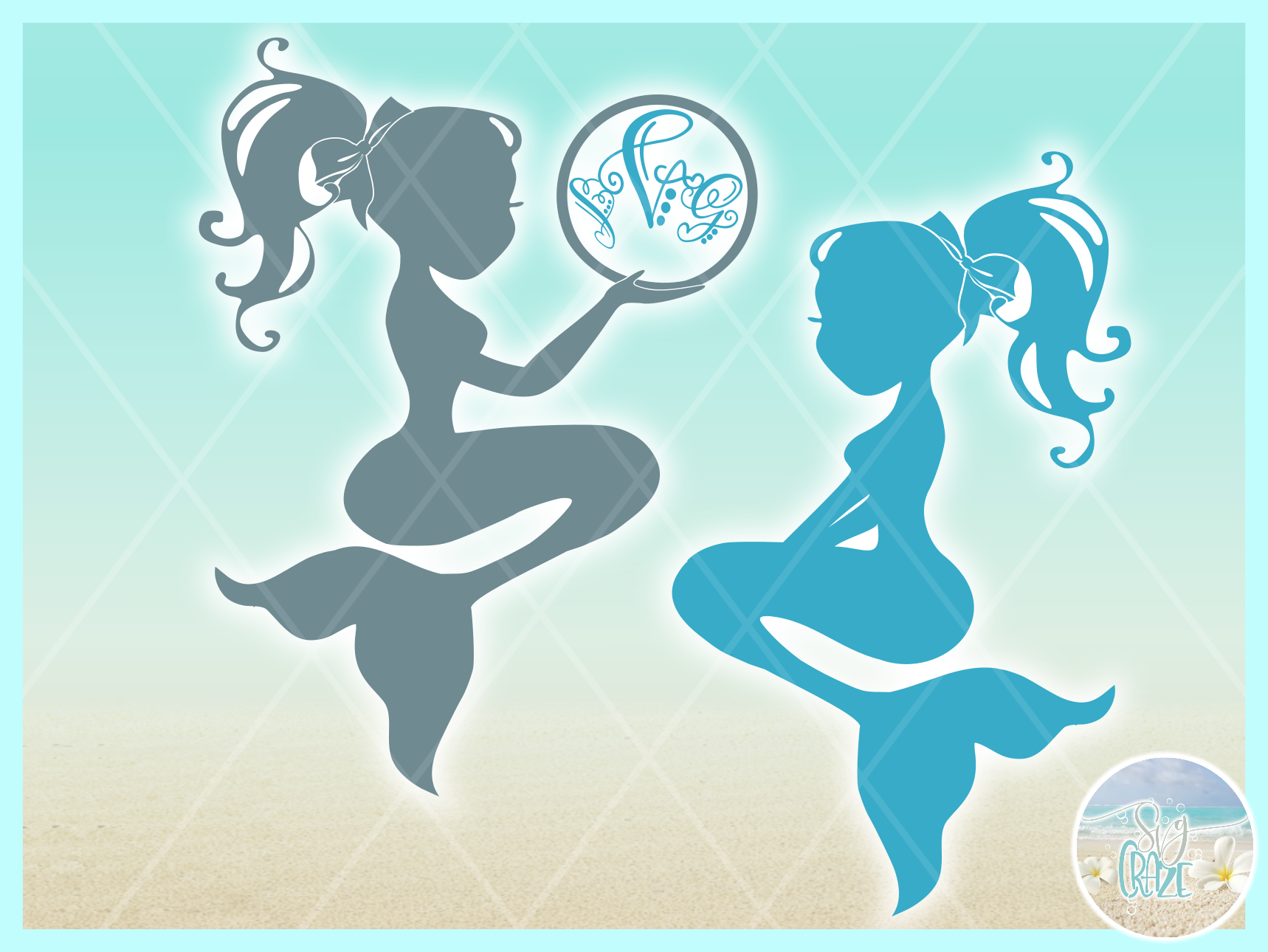 Mermaid Silhouette Monogram Svg Dxf Eps Png Pdf Files example image 3