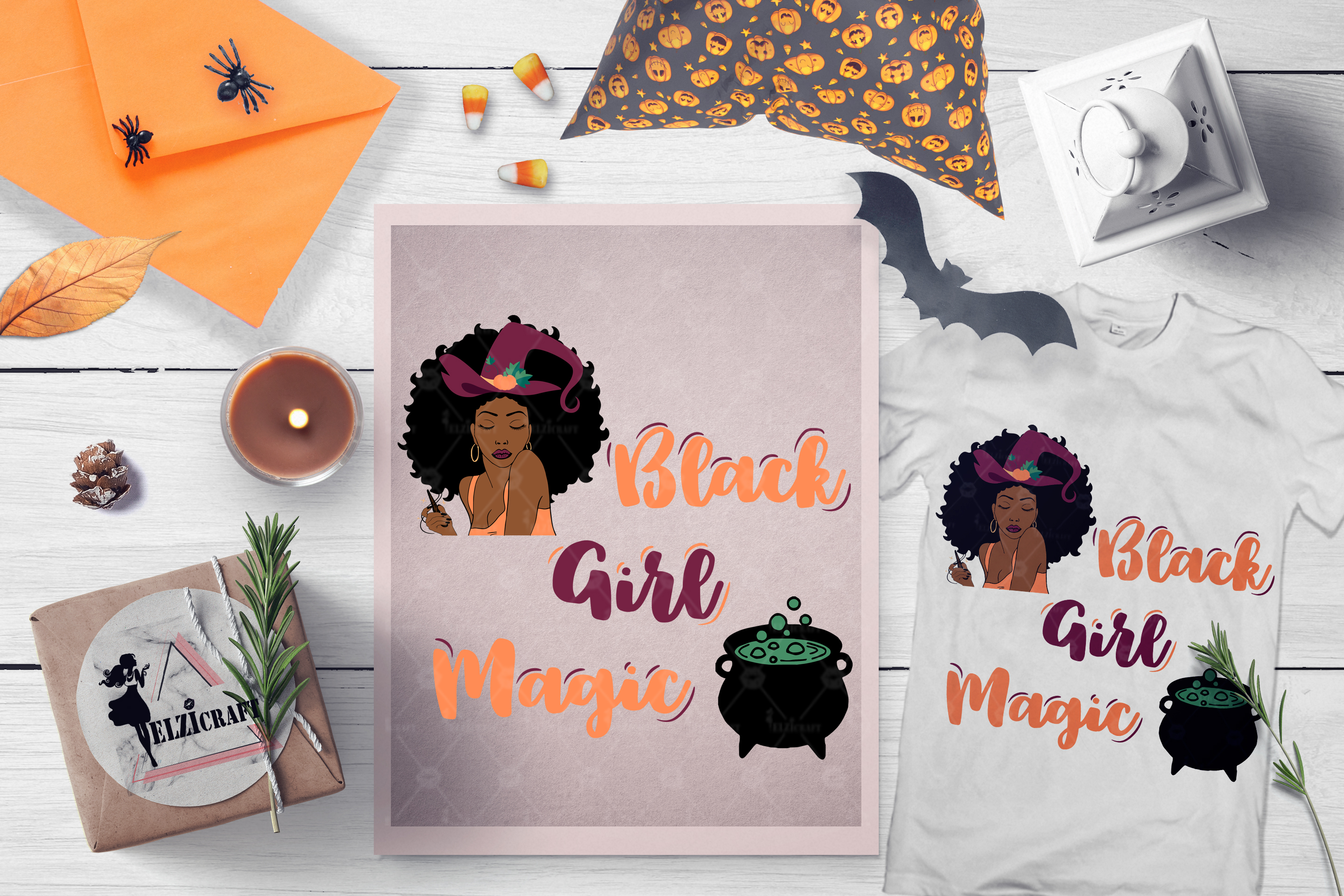 Halloween Black Girl Magic Afro Woman Witch SVG Cut File example image 1
