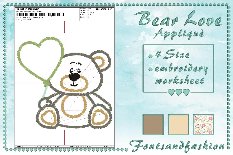Bear Love_Appliquè example image 2