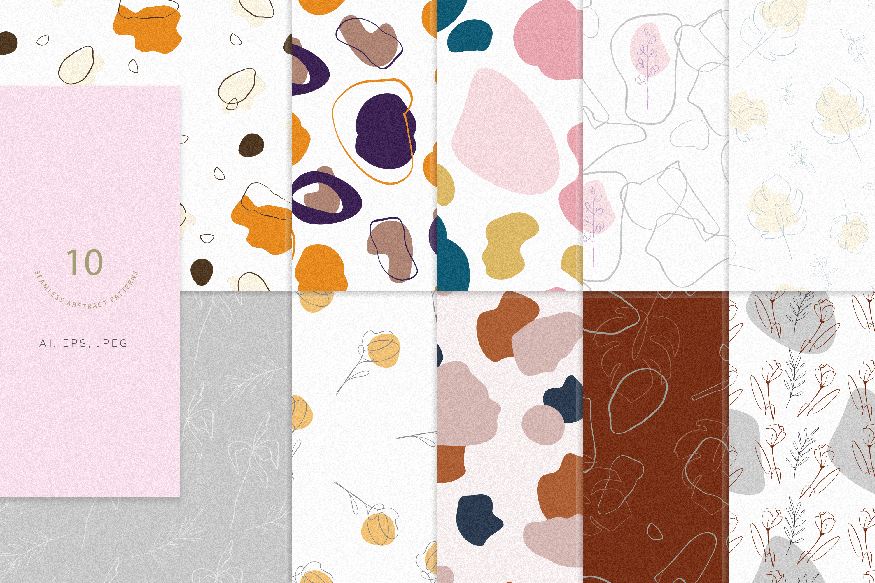 Abstract elements 10 seamless patterns  example image 1