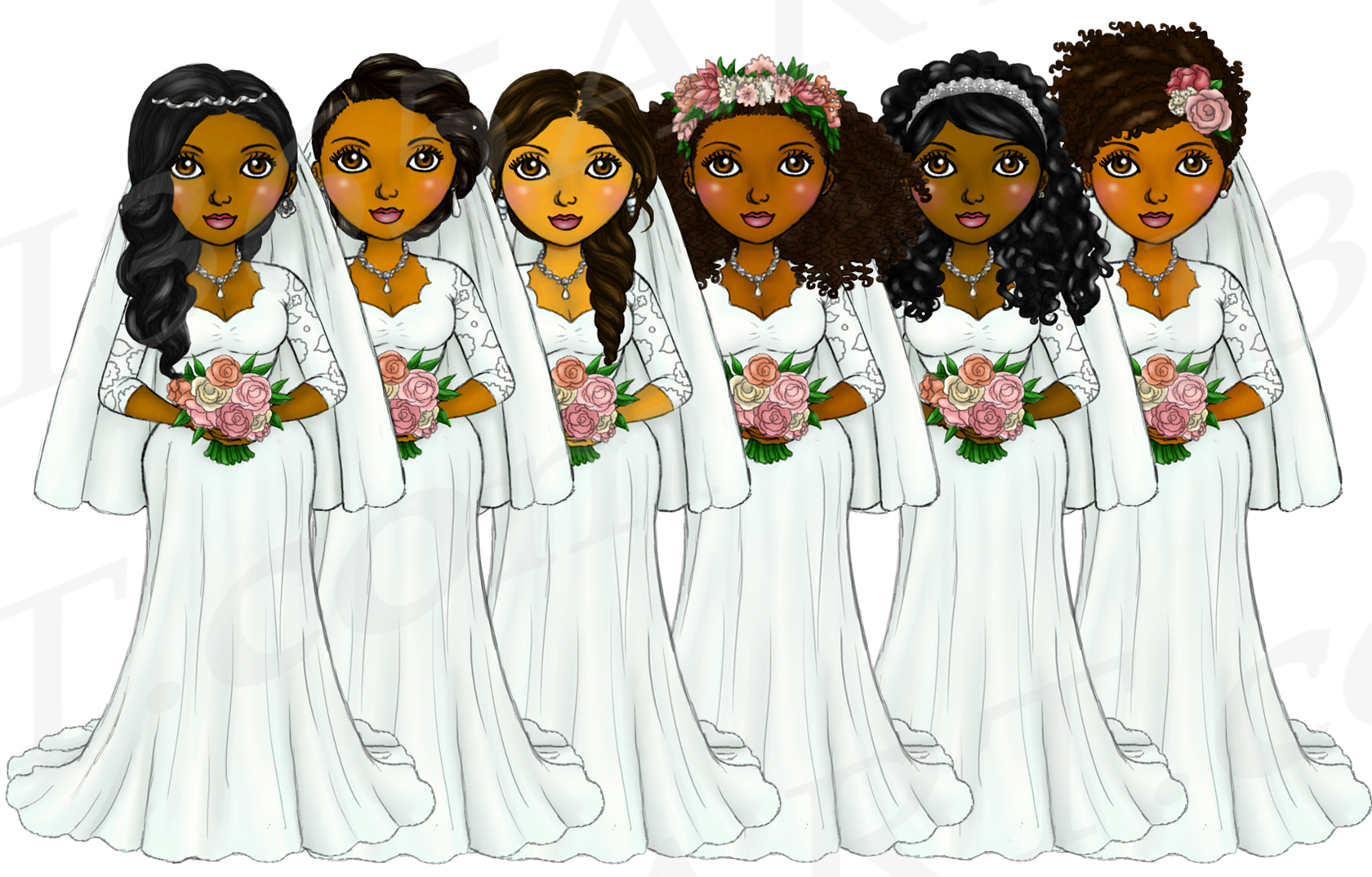 Bride Clipart Wedding Girls, Natural Hair Fashion Dolls, PNG example image 2