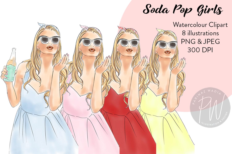 Soda pop girls watercolour clipart  example image 1